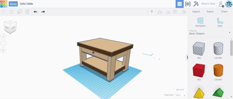 Side Table TinkerCAD