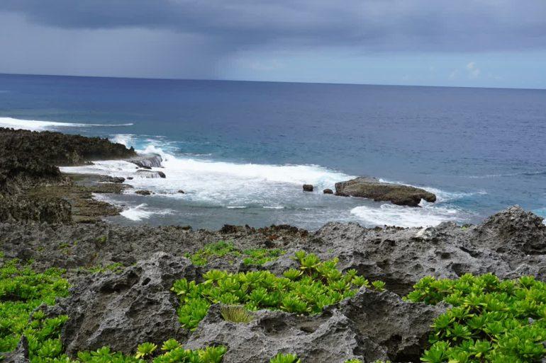 rocky ocean view rain