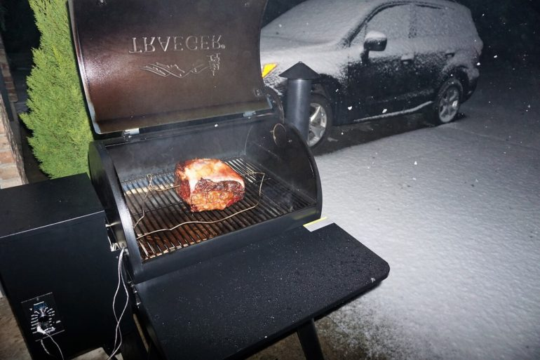 grilling in the snow.
