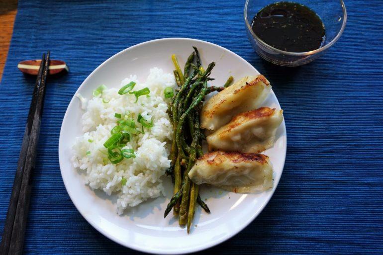 rice gyoza asparagus
