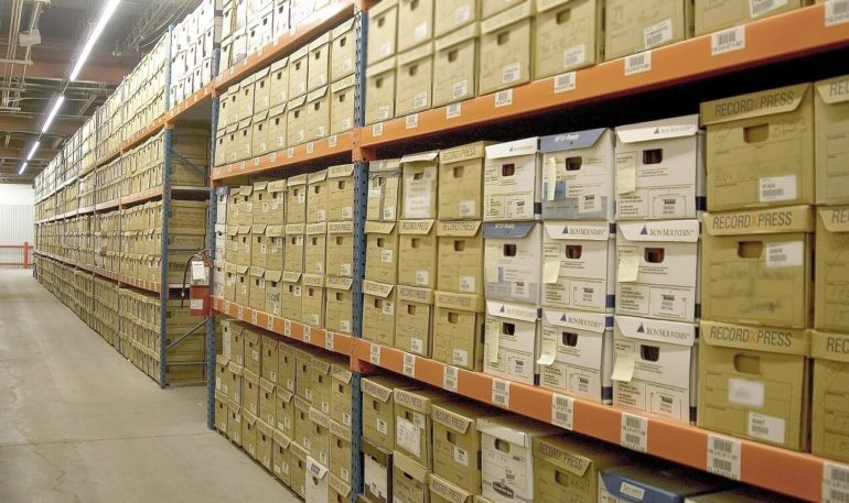 boxes on shelves