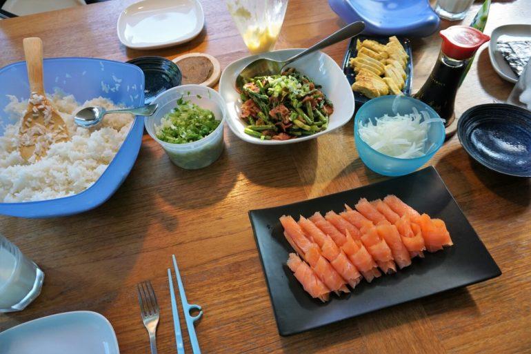 salmon sushi spread
