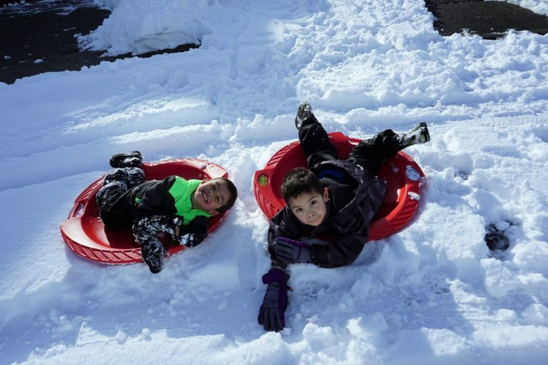 sledding at home