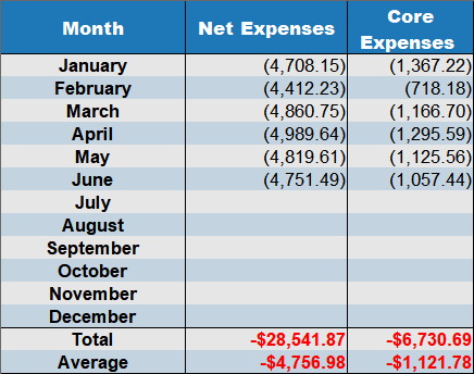 net expenses June 2019