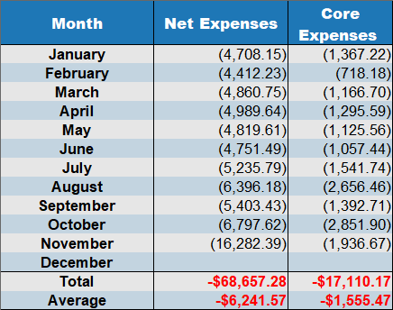 net expenses november 2019