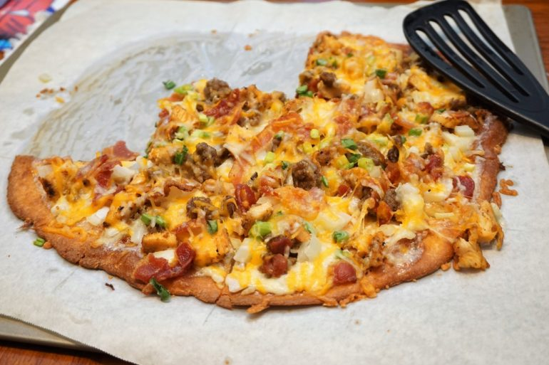 bacon sausage pizza