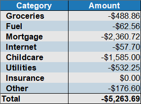 expenses by category march 2020