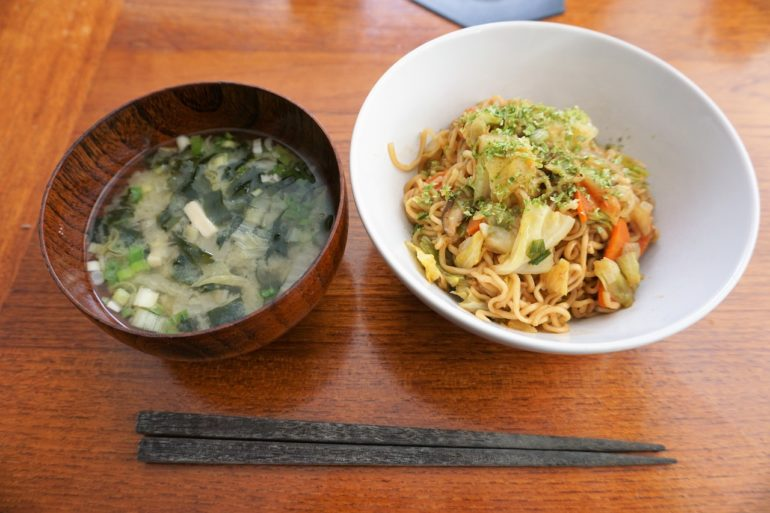 miso soup and yakisoba