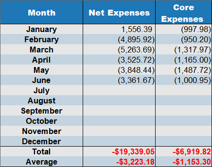 net expenses by month