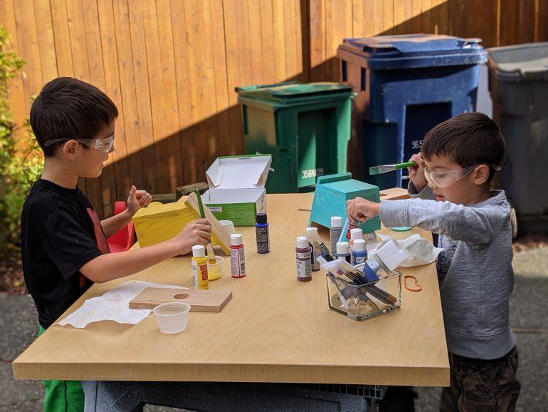 painting birdhouses