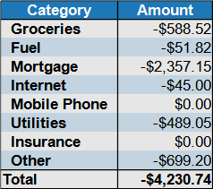 november expenses by category