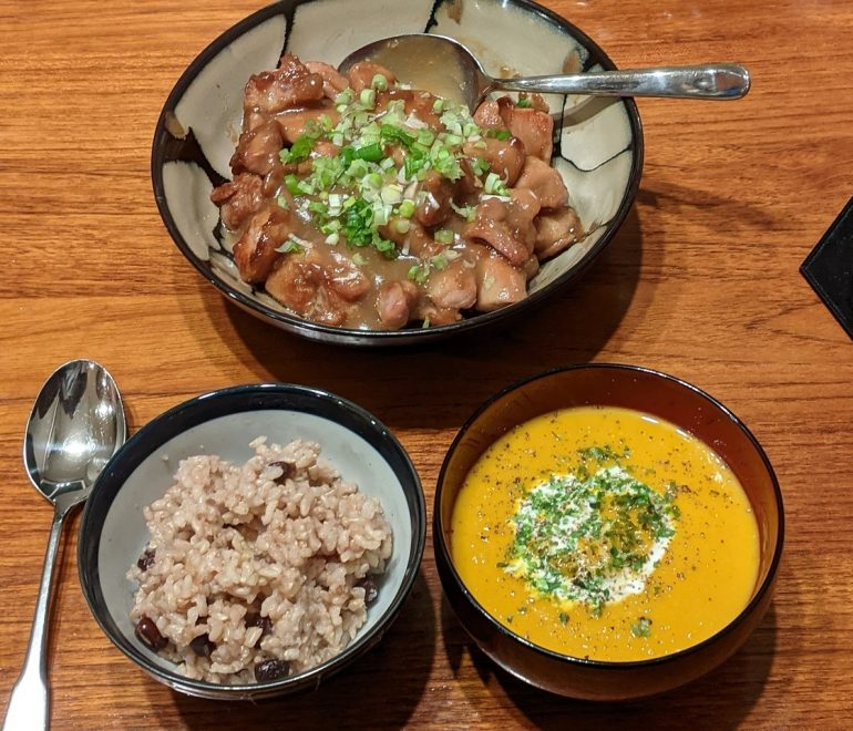 miso chicken, pumpkin soup
