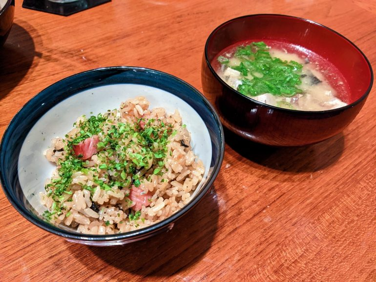 fried rice and miso soup