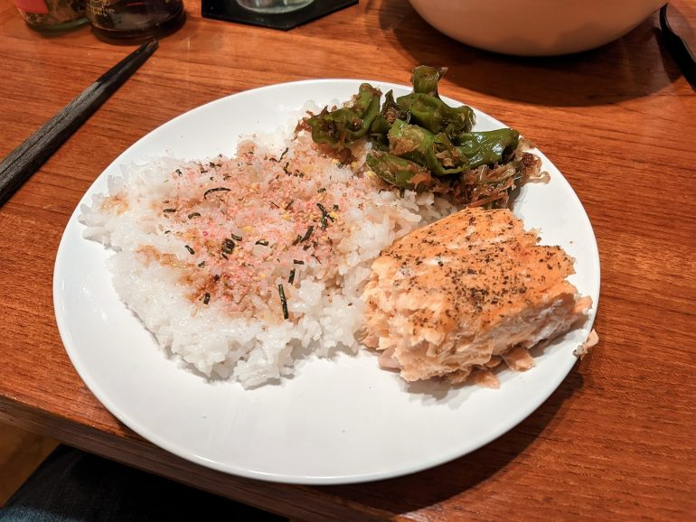 salmon shishito rice dinner